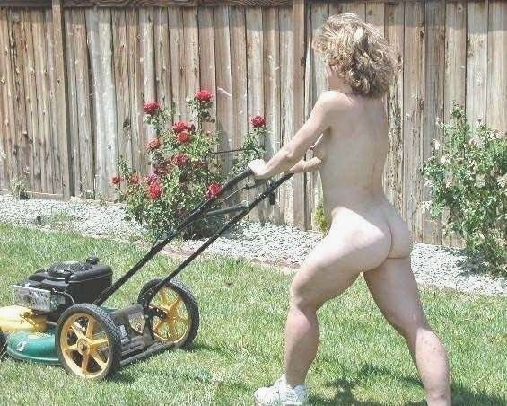 There naked woman on riding lawnmower seems
